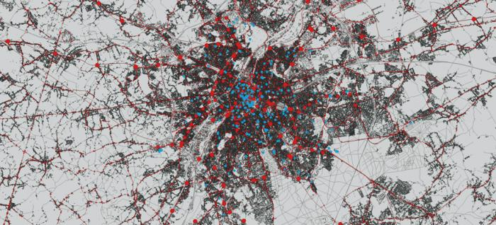 Brussels: mobility (red) and cultural infrastructures (blue)